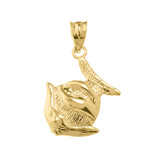 Yellow Gold Clown Fish Charm Pendant Necklace