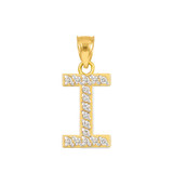 """Gold Letter """"I"""" Diamond Initial Pendant Necklace"""