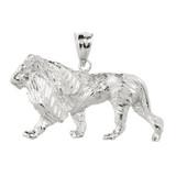 White Gold Diamond Cut Lion Pendant Necklace
