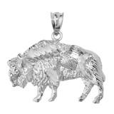 White Gold Diamond Cut Bison Pendant Necklace