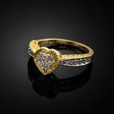 Yellow Gold Diamond-Studded Heart Ring
