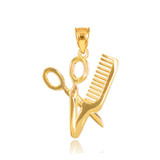 Gold Scissors and Comb Pendant Necklace