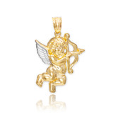 Two-Tone Gold Cupid Pendant Necklace