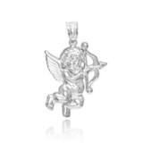 White Gold Cupid Pendant Necklace