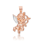 Two-Tone Rose Gold Cupid Pendant Necklace