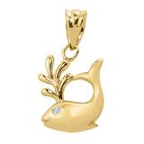 Yellow Gold Diamond Whale Charm Pendant Necklace