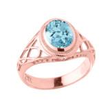 Rose Gold Celtic Lady's CZ Birthstone Ring
