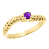 Gold Curved Stackable CZ Birthstone Ring
