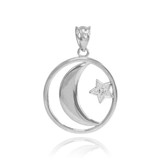Sterling Silver Crescent Moon with CZ Star Islamic Pendant Necklace