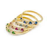 Gold Wavy Stackable CZ Emerald Ring