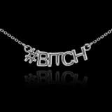 14k White Gold #BITCH Necklace