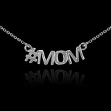 14k White Gold #MOM Necklace