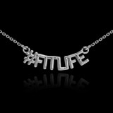 14k White Gold #FITLIFE Necklace