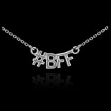 14k White Gold #BFF Necklace