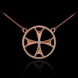 14k Rose Gold Diamond Maltese Cross Necklace