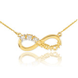 14K Gold Infinity #1MOM Necklace with Three CZ Birthstones