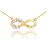 14K Gold Infinity #1MOM Necklace with Six CZ Birthstones