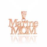 Rose Gold Marine Mom Pendant Necklace