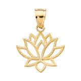 Yellow Gold Lotus Flower Pendant Necklace