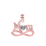 """Rose Gold Infinity """"MOM"""" Heart with Diamond Pendant Necklace"""