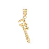 Polished Gold Monkey Wrench Pendant Necklace