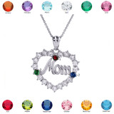 """White Gold """"MOM"""" Open Heart Pendant Necklace with Three CZ Birthstones"""