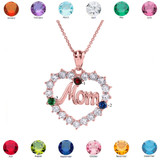 """Rose Gold """"MOM"""" Open Heart Pendant Necklace with Three CZ Birthstones"""