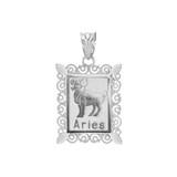 Polished White Gold Aries Zodiac Sign Rectangular Pendant Necklace