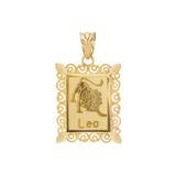 Polished Gold Leo Zodiac Sign Rectangular Pendant Necklace