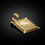 Polished Gold Taurus Zodiac Sign Rectangular Pendant Necklace