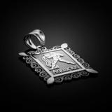 Polished White Gold Aquarius Zodiac Sign Rectangular Pendant Necklace