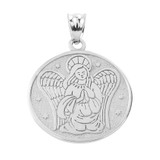 Two Sided White Gold Guardian Angel Charm Pendant Necklace