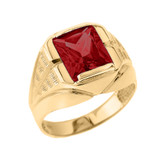 Yellow Gold Personalized Gemstone Men's Ring