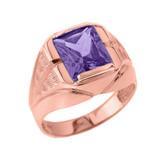 Rose Gold Personalized Gemstone Men's Ring