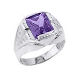 Sterling Silver Aquamarine Gemstone Men's Ring
