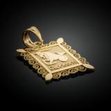 Gold Capricorn Zodiac Sign Filigree Square Pendant Necklace
