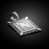 White Gold Capricorn Zodiac Sign Filigree Square Pendant Necklace