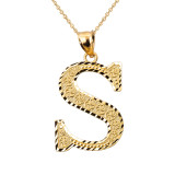 Initial S Gold Charm Pendant
