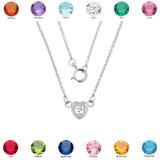 14K White Gold CZ Dainty Heart Necklace