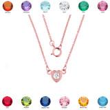 14K Rose Gold CZ Dainty Heart Necklace