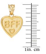 3pc Gold 'BFF' Heart Pendant Set