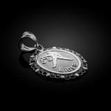 White Gold Libra Zodiac Sign Filigree Oval Pendant Necklace