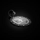 White Gold Scorpio Zodiac Sign Filigree Oval Pendant Necklace