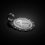 Polished White Gold Aquarius Zodiac Sign Oval Pendant Necklace
