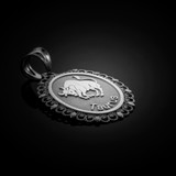 Polished White Gold Taurus Zodiac Sign Oval Pendant Necklace
