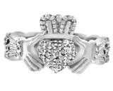 18K White Gold Diamond Pave Claddagh Ring 0.50 Carat