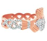 18K Rose Gold Diamond Pave Claddagh Ring 0.50 Carat