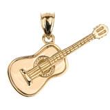 Gold Acoustic Guitar Pendant Necklace