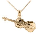 Gold 3D Cello Pendant Necklace