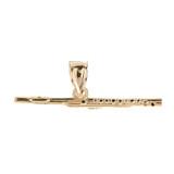 Gold 3D Flute Pendant Necklace